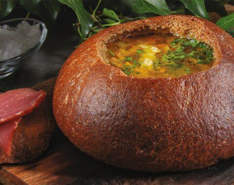 Суп гороховый по-царски в хлебе